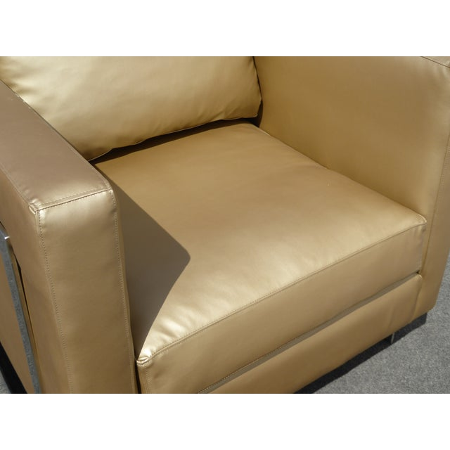 Mid Century Gold Chrome Club Chair Contemporary Modern Style For Sale - Image 7 of 11