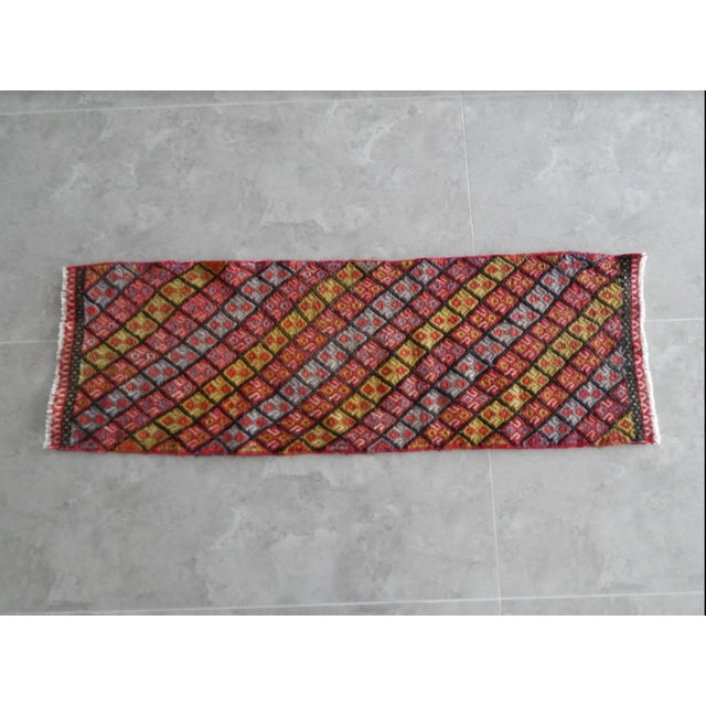 Vintage Small Cicim Kilim Rug 18.1'' X 53.1'' / 46x135cm Hand woven with high quality pure wool Excellent condition From...