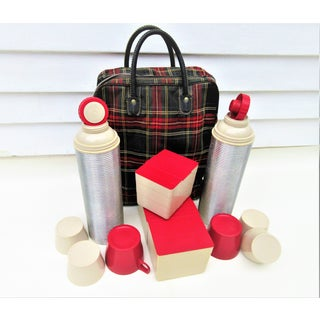 1950s Red Plaid Tote & Thermos Bottles Picnic Set Preview