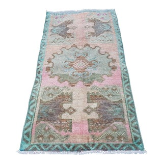 1970s Vintage Turkish Oushak Yastik Petite Rug - 1′6″ × 3′ For Sale