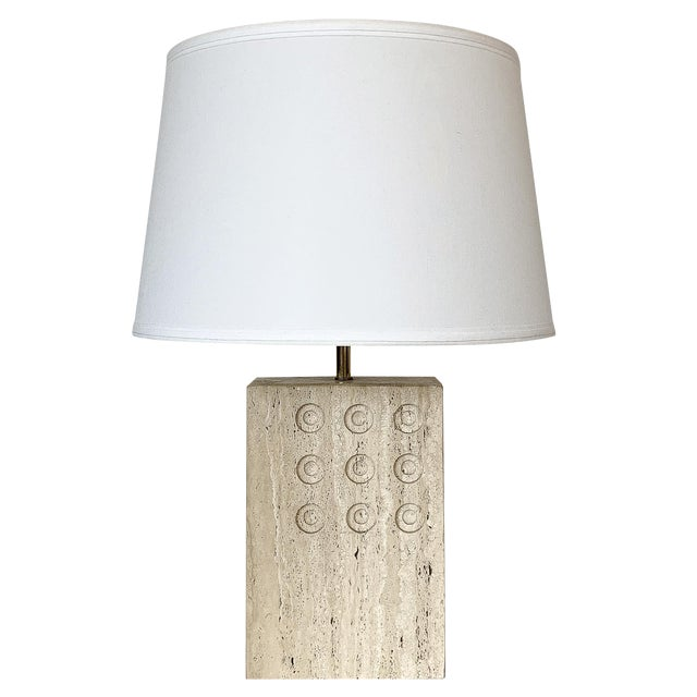 Italian Travertine Table Lamp by Reggiani for Raymor For Sale