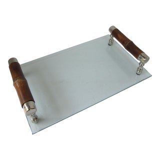 Glass Tray With Bamboo Handles For Sale