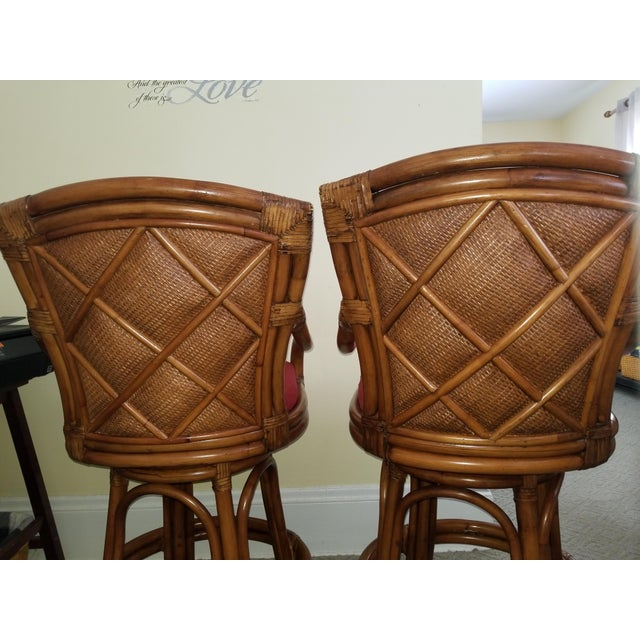 Rattan Bamboo Leather Swivel Bar Stools - a Pair For Sale - Image 5 of 13