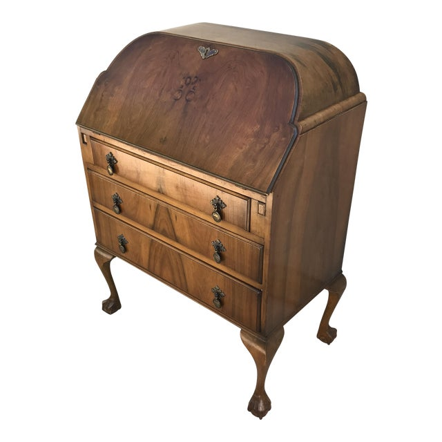 French Art Deco Burl Walnut Drop Front Secretary Desk - Image 1 of 11