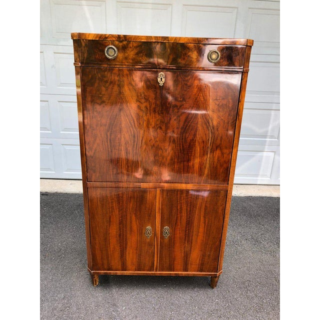 Traditional Gorgeous Biedermeier Mixed Wood and Red Leather Secretary Cabinet For Sale - Image 3 of 13