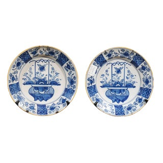 17th Century Blue Delft ChargerPlates - a Pair