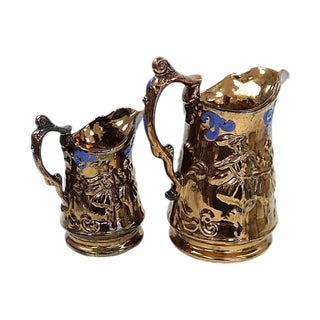 Antique Copper Luster Dancer Jugs - a Pair