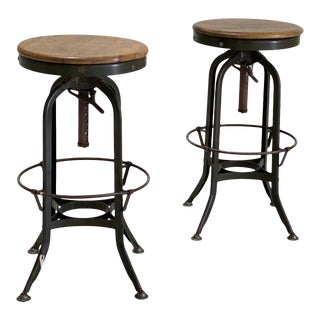 Antique Industrial Toledo Metal Stools - a Pair For Sale