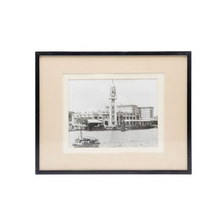 """Waterfront Scene"" Framed Black and White Photograph For Sale"