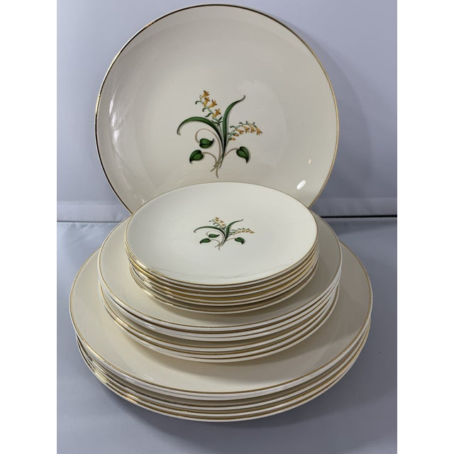 1950s Vintage Forsythia Pattern by Edwin Knowles China Company Dinnerware - 47 Piece For Sale - Image 5 of 13