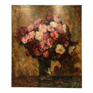 Late 19th Century Impasto Roses Oil Painting by Wilhelm Blanke For Sale