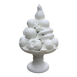 Vintage Italian White Porcelain Blanc De Chine Fruit Topiary / Centerpiece For Sale