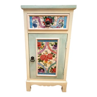 Cheerful Wood & Tile Mosaic Storage Cabinet For Sale