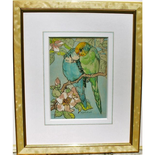 "Art Nouveau ""Budgies"" Gold & Mother-Of-Pearl Framed Watercolor Painting For Sale - Image 3 of 3"