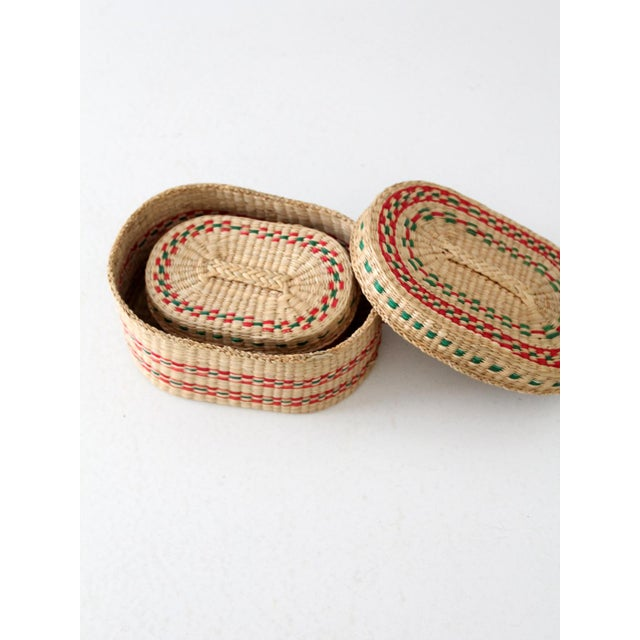 Cottage Vintage Sweetgrass Baskets - a Pair For Sale - Image 3 of 8