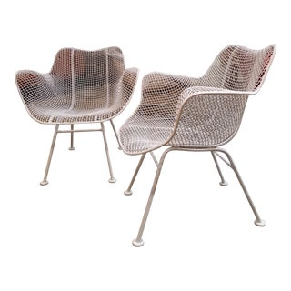 Russell Woodard Sculptura Wire Armchairs a Pair For Sale