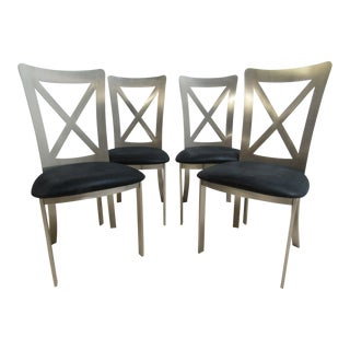 Vintage Stainless Industrial Style Dining Chairs - Set of 4