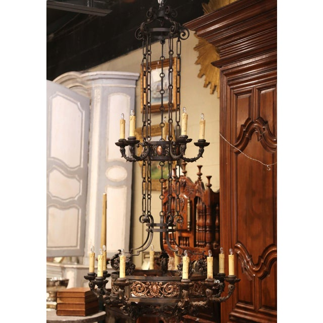 Late 19th Century 19th Century French Gothic Iron and Copper Two-Tier Fifteen Light Chandelier For Sale - Image 5 of 11