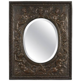 19th Century French Embossed Brass Mirror For Sale