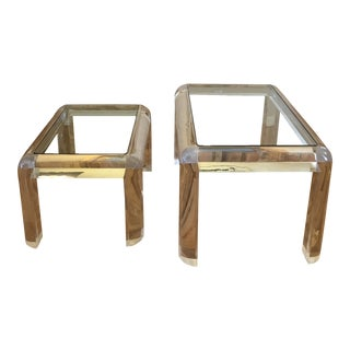 1980s Hollywood Regency Lucite and Glass Coffee Tables - Set of 2 For Sale