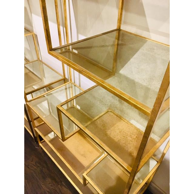 Hollywood Regency Hollywood Regency Dwell Studio Gold Etageres With Mirrored Shelves - a Pair For Sale - Image 3 of 5