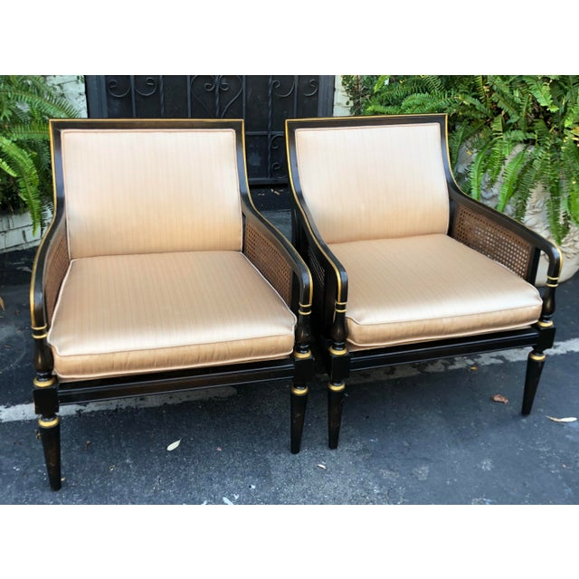 Hollywood Recency Black & Gold Cane Arm Low Club Chairs - a Pair For Sale - Image 4 of 7