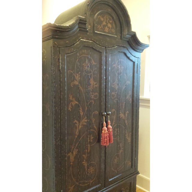 Wooden Floral Decorated Armoire With Custom Trim - Image 3 of 8