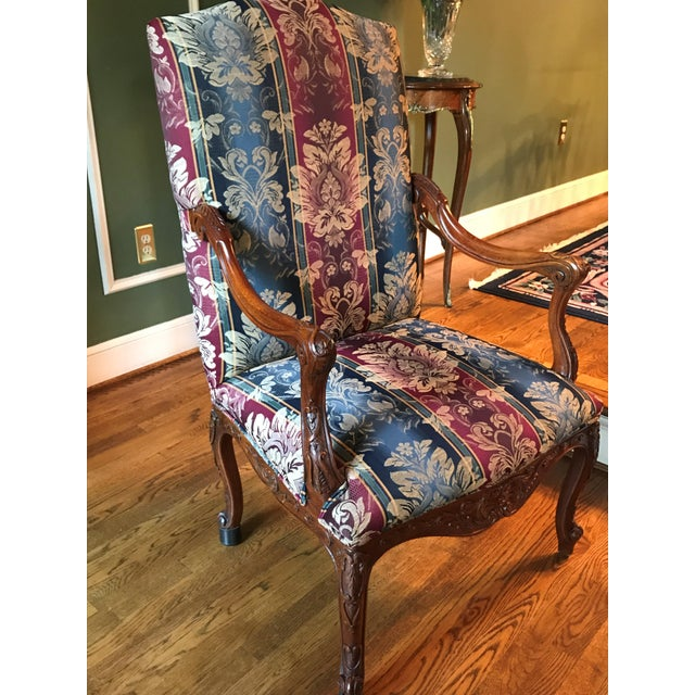 Antique Transitional Style Blue Chair - Image 3 of 5