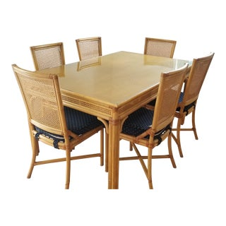 1970s Boho Chic Cane Dining Set - 7 Pieces For Sale