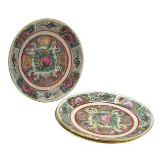 Vintage Saucers Rose Canton Porcelain - Set of 2 For Sale