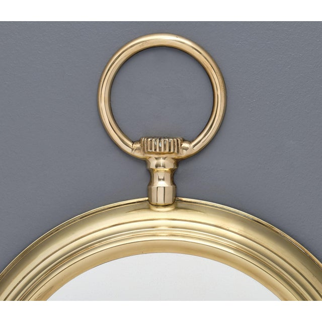 French Brass Vintage Pocket Watch Mirror For Sale - Image 4 of 10