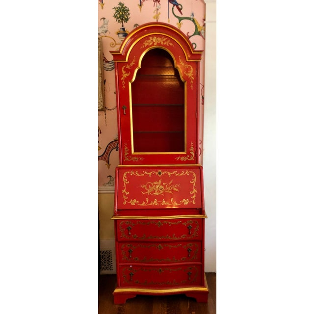 John Widdicomb John Widdicomb Red Chinoiserie English Drop Front Secretary Bookcase For Sale - Image 4 of 8