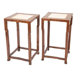 Chinese Elm Wood Side Tables with Marble Inlaid Tops - A Pair For Sale