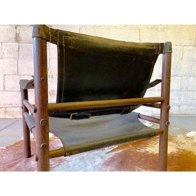 Black Authentic + Rare Mid Century Modern Leather Safari Chair by Arne Norell, Made in Sweden For Sale - Image 8 of 11