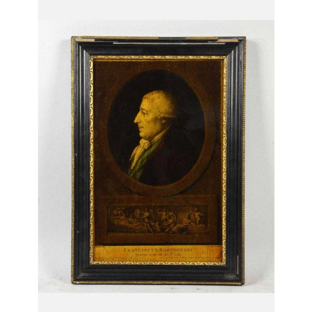 Glass I. Bouillard (19th Century) Franciscus Bartolizzi Reverse Painting on Glass For Sale - Image 7 of 7