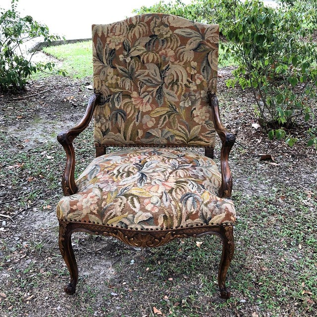 19th Century French Louis XV Tapestry Armchair For Sale - Image 13 of 13