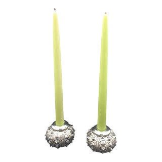 "Pair of Creel and Gow ""Radziwill"" Silvered Urchin Candlestick Holders For Sale"