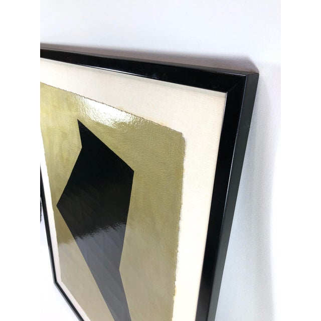 Betty Gold Original Framed Betty Gold Artwork Black Geometric Form Against Metallic Paper Signed For Sale - Image 4 of 12