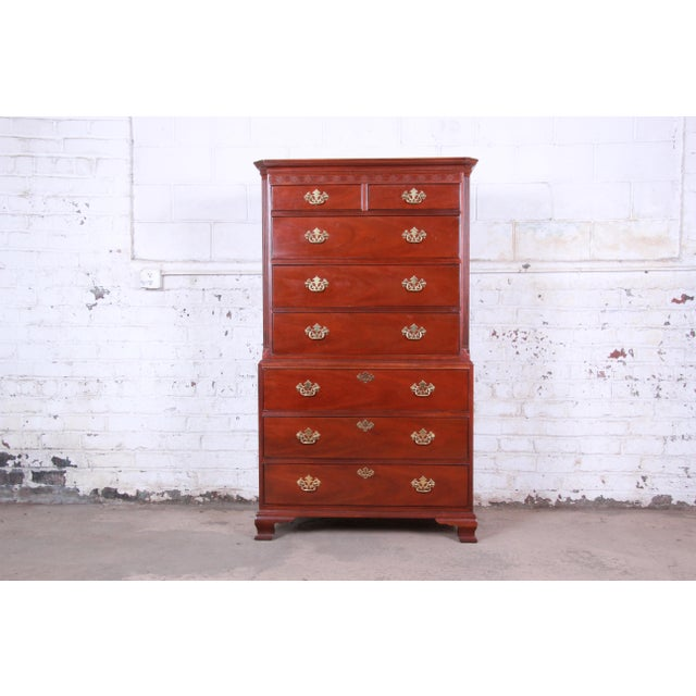 Baker Furniture Mahogany Chippendale Style Highboy Dresser For Sale - Image 13 of 13