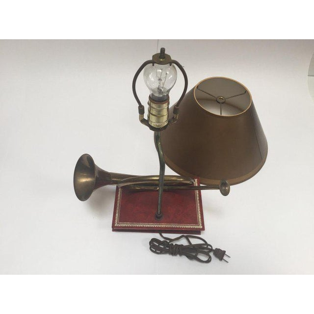 American Vintage Brass Looped Hunter's Horn Bugle Made Into a Table Lamp by Robert Abbey For Sale - Image 3 of 13