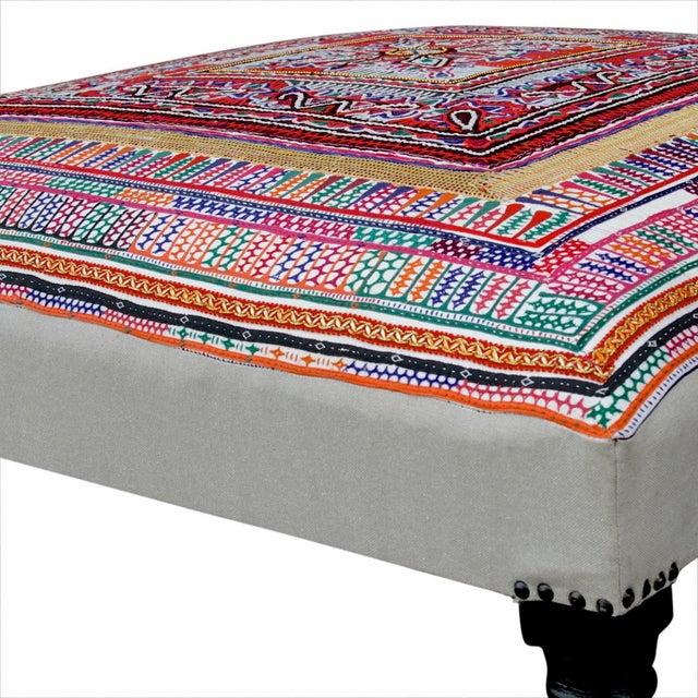 Rabari Textile Upholstered Ottoman For Sale - Image 4 of 6