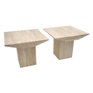 Pair of Square Travertine Stone Side Table, Belgium Circa 1970s For Sale