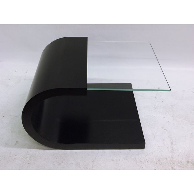 Modern Waterfall Black Lacquer & Glass End Table For Sale - Image 3 of 5