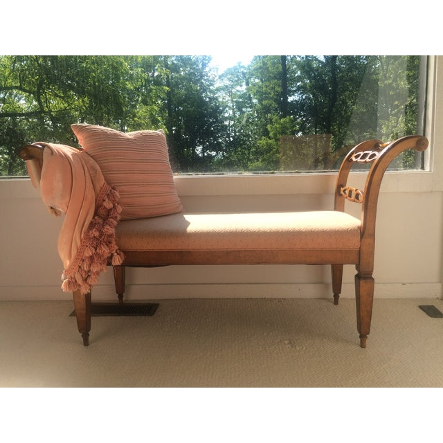 Traditional Milling Road Baker Furniture Hand Carved Solid Wood Bench For Sale - Image 3 of 11