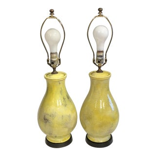 Zaccagnini Pottery Italian Yellow Crackle Glaze Monochrome Lamps - a Pair For Sale