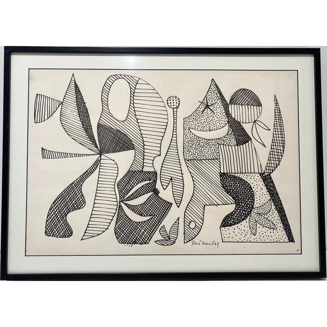 Mid-Century Modern 1969 Series III Pen-Ink Abstract Painting by Listed Artist Rene Marcel Gruslin For Sale - Image 11 of 12