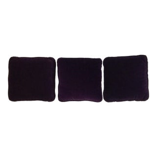 1990s Vintage Ethan Allen Deep Plum Velvet Throw Pillows - Set of 3 For Sale