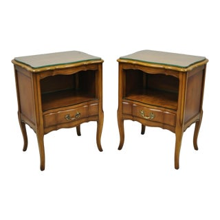 Pair of Vintage Cherry Wood French Provincial Nightstand Bedside Tables by White Furniture For Sale