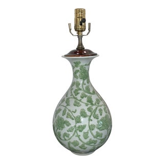 White Porcelain Lamp With Vine Decorations For Sale