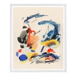 """Abstract Framed Painting With Primary Colors – 33"""" X 40"""" White Frame"""